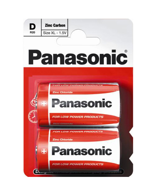 Батарейка солевая PANASONIC Red Zinc D/2B
