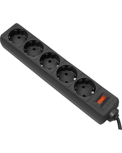 Сетевой фильтр ES 1.8 m Black 5 розеток, черный - фото 1