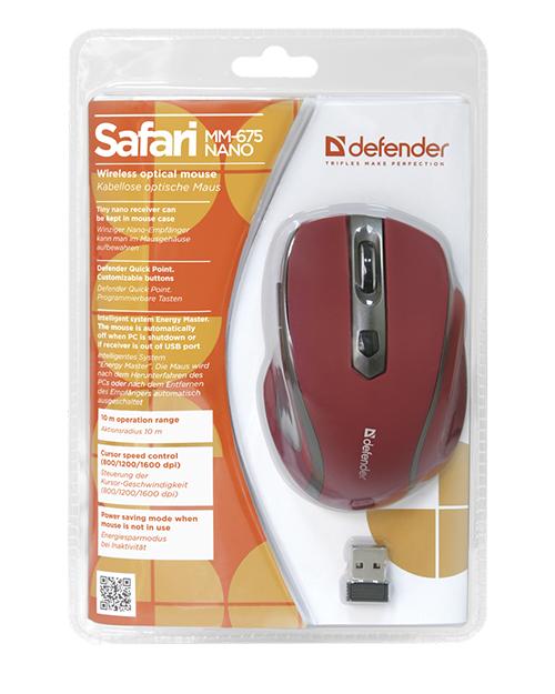 Беспроводная оптическая мышь Safari MM-675 Nano Sunset (крас),5кн+кл 800/1200/1600dpi - фото 4
