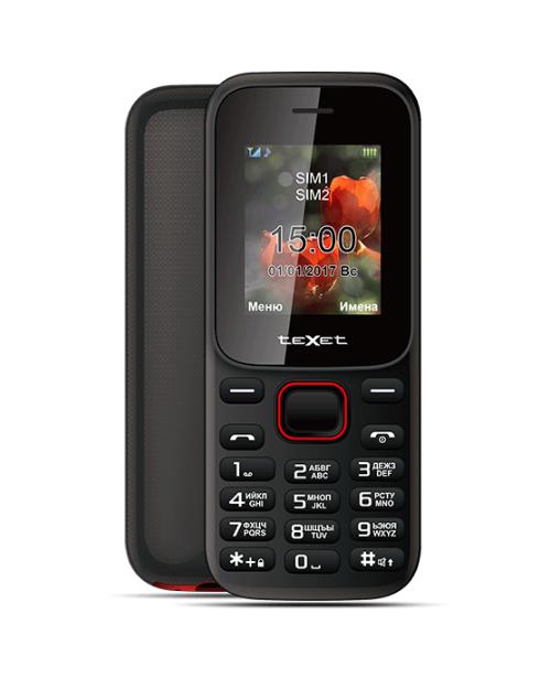 Мобильный телефон teXet ТМ-128 цвет черный-красный - фото 1