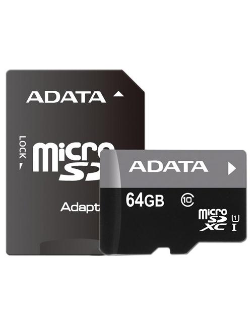 ADATA microSDHC UHS-I CLASS 10, 64Gb RETAIL W/1 ADAPTER - фото 1