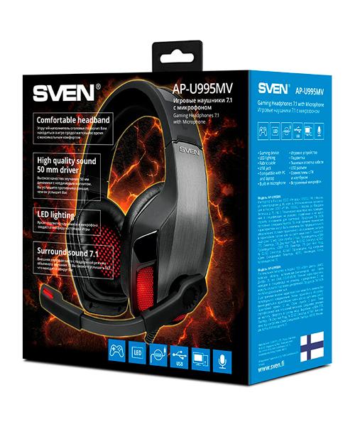 SVEN AP-U995MV  Игровые стереонаушники с микрофоном  (USB, LED, 7.1) - фото 3